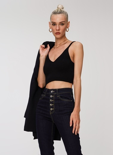 People By Fabrika Triko Crop Top Siyah